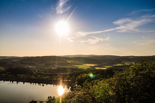 Summer, Bigge, Skywalk, Reservoir, Sun, Dam, Sauerland