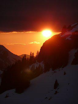 Sunset, Mountains, Snow, Winter, Mood, Sun, Evening