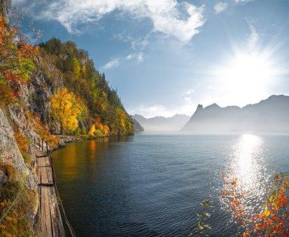 Lake, Traunsee, Austria, Autumn, Landscape, Nature