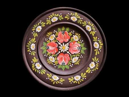 Plate, Wooden Plate, Wall Plate, Painted, Motif