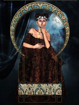 Woman, Art Nouveau, Cape, Playfulness, Beauty, Female