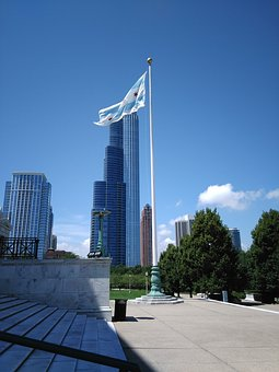 Chicago, Flag, Blue Sky, Museum Of Natural History