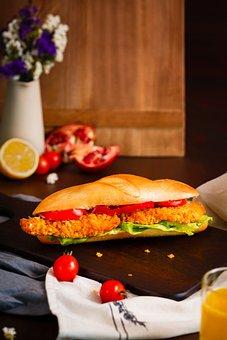 Sandwich, Sandwich With Schnitzel, Breakfast, Snack