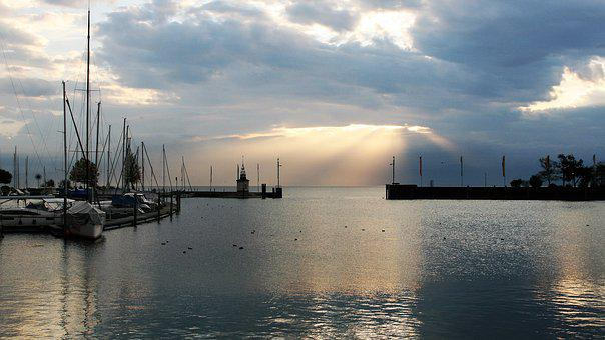 Dawn, Sunrise, Autumn, Sun, Stormy, Shadows, Lake