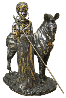 Figure, African, Zebra, Woman, Female, Metal Figure