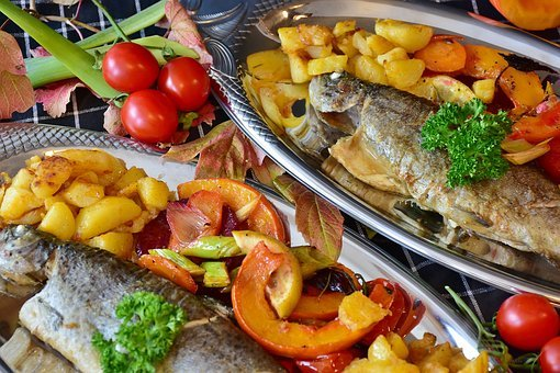 Trout, Fish, Fried, Fry, Vegetables, Pumpkin, Beetroot