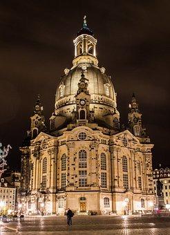 Frauenkirche, Neumarkt, Night, Dresden, Germany