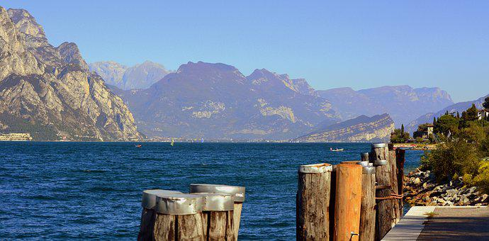 Lake, Mooring, Mountain, Garda, Italy