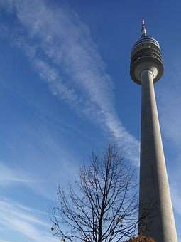 Sky Up, Blue, Tower, Munich, Architecture