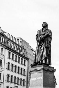 Martin Luther, Neumarkt, Dresden, Black And White