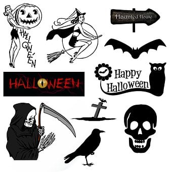 Halloween, Icons, Symbols, Vintage, Retro, Black