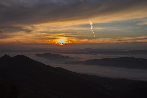 Sunrise, Fog, The Swiss Mittelland, Belchen, Fog Items
