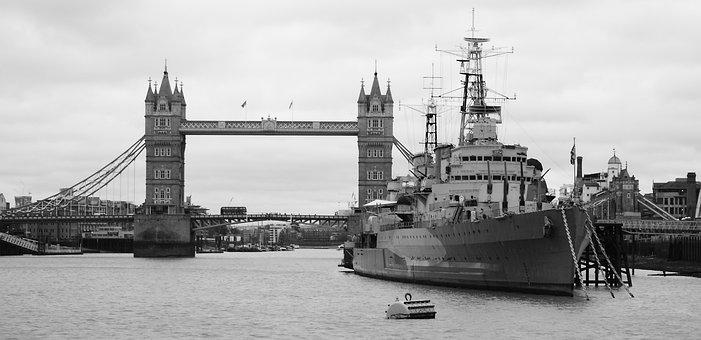 Black-and-white, Warship, London, Tower Bridge