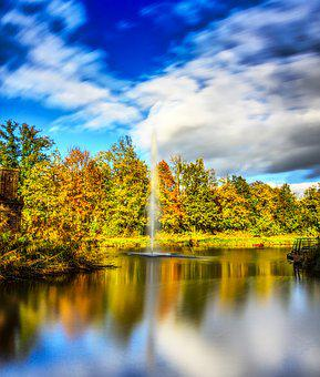 Fountain, Lake, Pond, Water, Water Feature, Wet