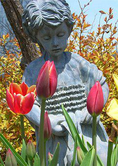 Girl, Tulips, Watering Can, Lovely, Flowers, Peaceful