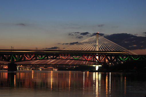 Warsaw, Bridge, Wisla, Poland, The Capital Of The, City