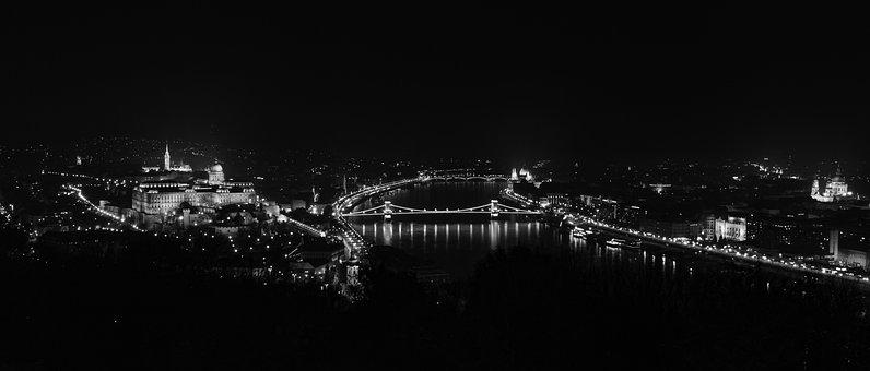 Budapest, Hungary, Black And White, Panorama, Landscape
