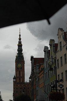 Poland, Gdańsk, Rain, Building, Cloudy, Clouds, City
