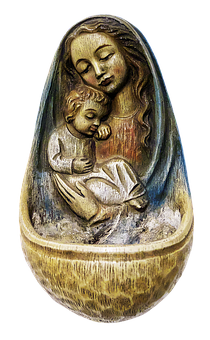 Holy Water Container, Madonna, Ceramic, Container