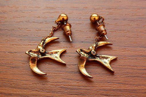 Earrings, Swallows, Gold Earrings, Jewelry