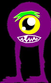 Monster, Alien, Round, Purple, Legs, Horns, Eye
