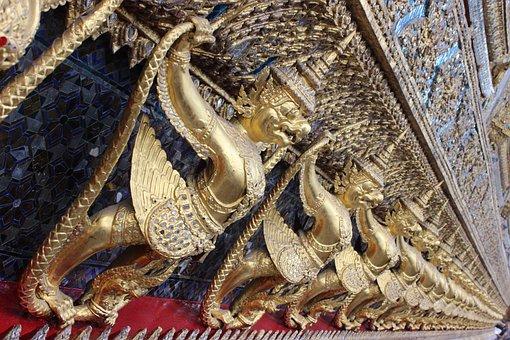 Hinduism, Buddha, Dragons, Gold, Religion, Figure