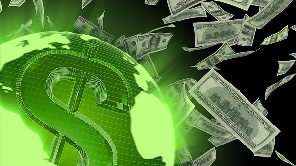 Flying, Dollars, Currency, Business, Money, Cash