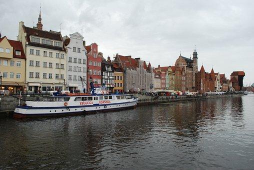 Poland, Gdańsk, Port, Ship, Houses, Shipping, Sea