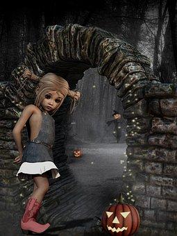 Child, Halloween, Scarecrow, Pumpkin, Scary Steintor