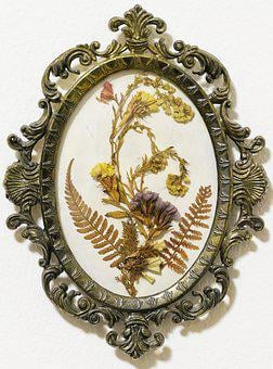 Mural, Medallion, Flower Picture, Dried Flowers