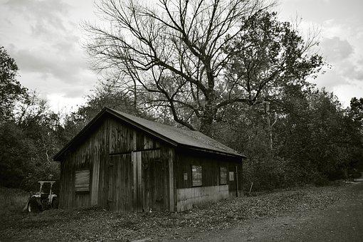 Black And White, Barn, Farm, Rural, Nature, Wooden