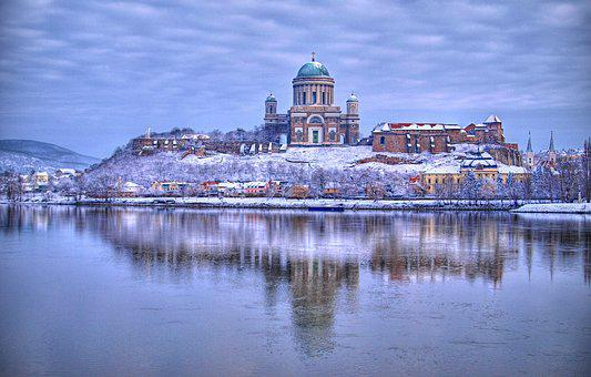 Ostrihom, Esztergom, Basilica, The Danube, Reflection