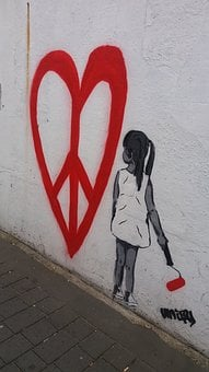Wall, Peace, Red, Little Girl, White, Brush, Painting