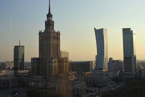 Warsaw, Children's Parade, Gold, Panorama, Architecture