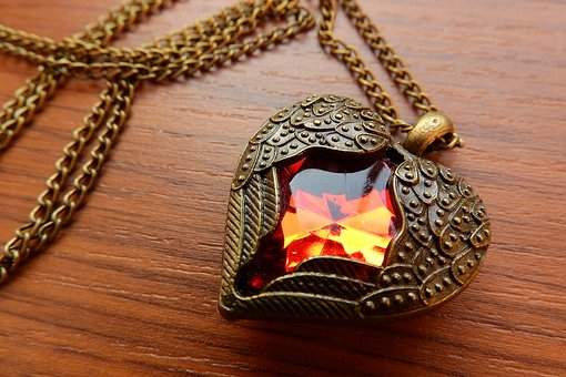Necklace With Winged Heart, Winged Heart, Red Heart