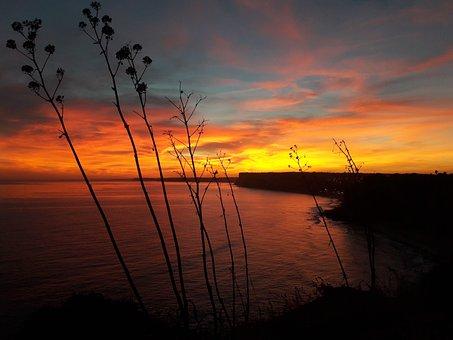 Sunset, Algarve, Shadow, Sea, Flame Sky, Coast