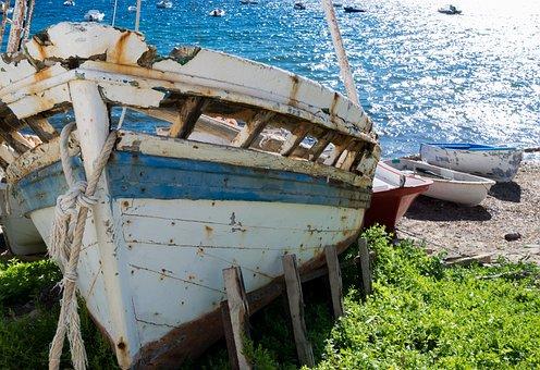 Boat, Wreck, Ship, Blue, Abandoned, Shipwreck, Broken