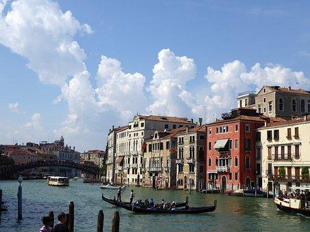 Venice, Gondola, Canal Grande, Italy, Lagoon, Sky