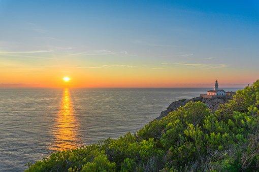 Mallorca, Sea, Sunrise, Water, Rock, Lighthouse, Sky