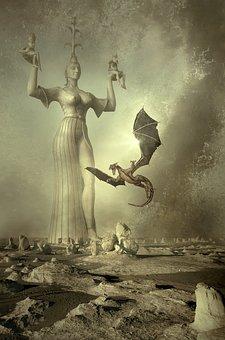 Fantasy, Book Cover, Landscape, Stone Desert, Statue