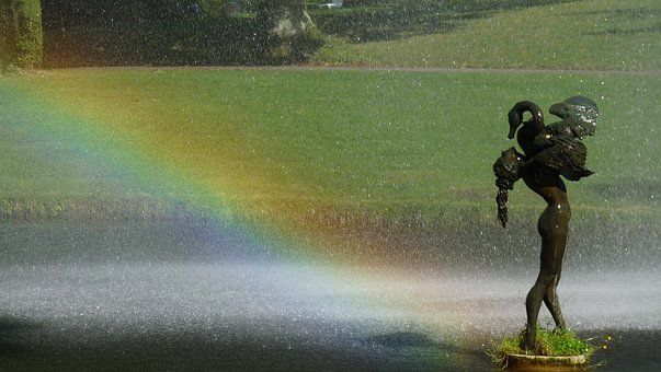 Statue, Leda And The Swan, Rainbow, Park