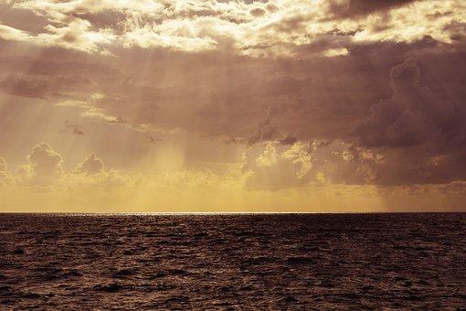 Sky, Clouds, Sea, Afternoon, Sunset, Horizon, Autumn