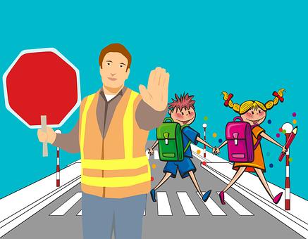 Cartoon, School, Road, Pedestrian Crossing, Traffic