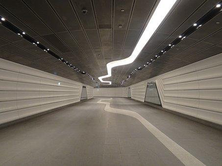 Tunnel, Underground, Futuristic, Pedestrian Tunnel