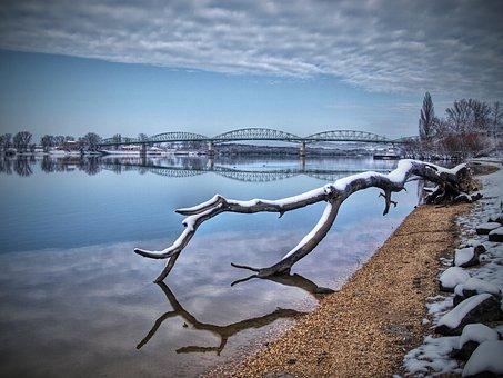 The Danube, Reflection, Winter, Bridge, štúrovo