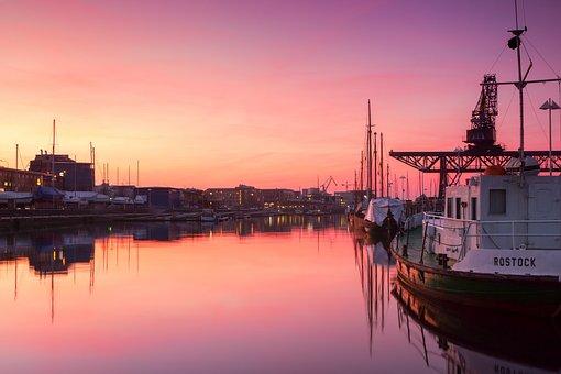 Rostock, City harbor, Sunset, Water, Abendstimmung