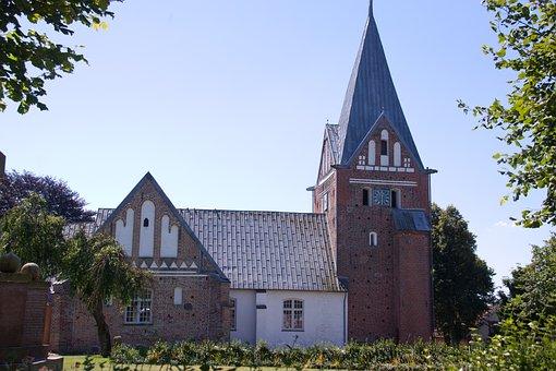 Church, Spire, Tower, Løjtland, Denmark, Religion, Holy