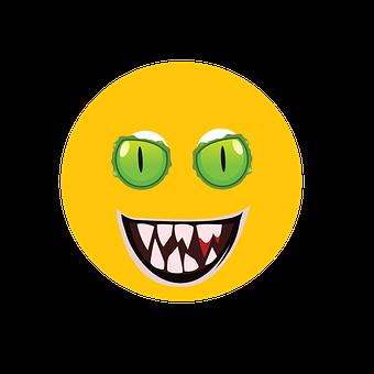Emoji, Face, Green Eye, Evil, Halloween