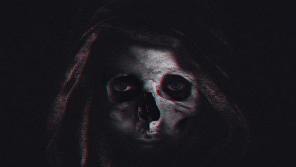 Skull, Woman, Girl, Kapuca, Hood, Black, Eyes, Dark