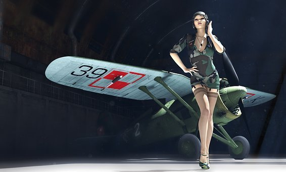 Pzl P11, Pin-up, 3d Model, Pilot, A Woman Pilot